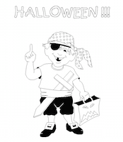 Coloriage 6 pour Halloween : pirate